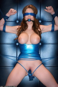 Emily Addison in Blue Latex and Bondage